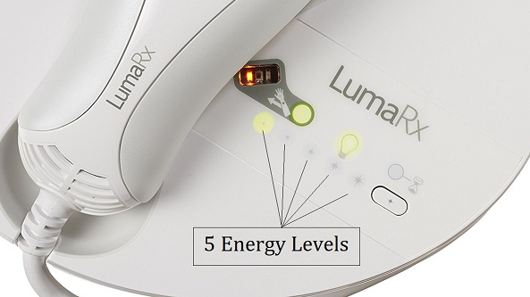 Lumarx 5 IPL energy levels low to high